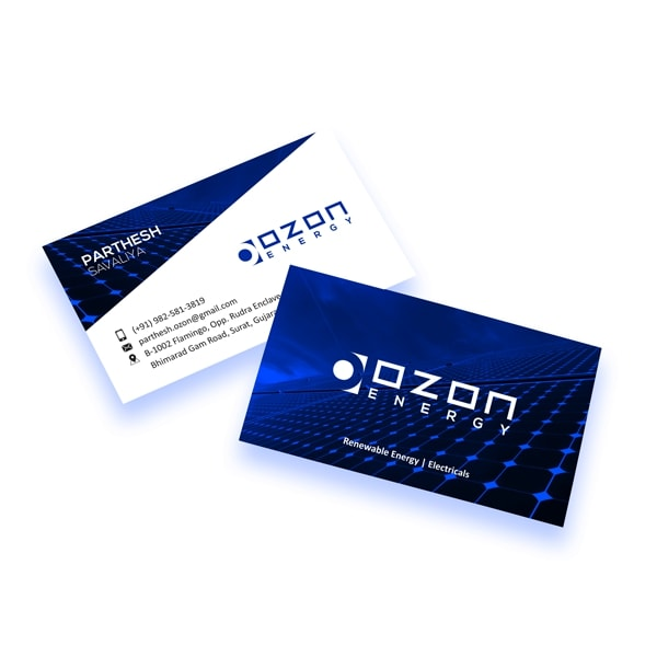 OZON Energy solar power Freelance Logo & Graphic Designer Surat | JEEiEE Business card design